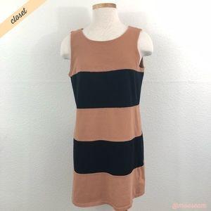 [Zara Basic] Striped Black/Tan T-Shirt Dress